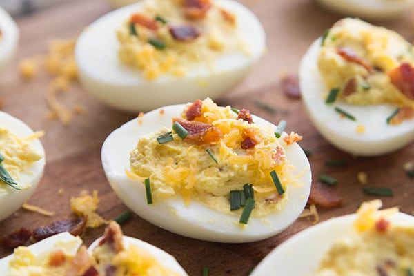Instant Pot Deviled Eggs with Bacon and Chives
