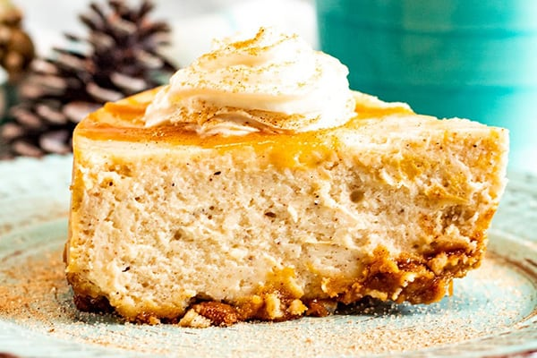 INSTANT POT EGGNOG CHEESECAKE WITH GINGERSNAP CRUST