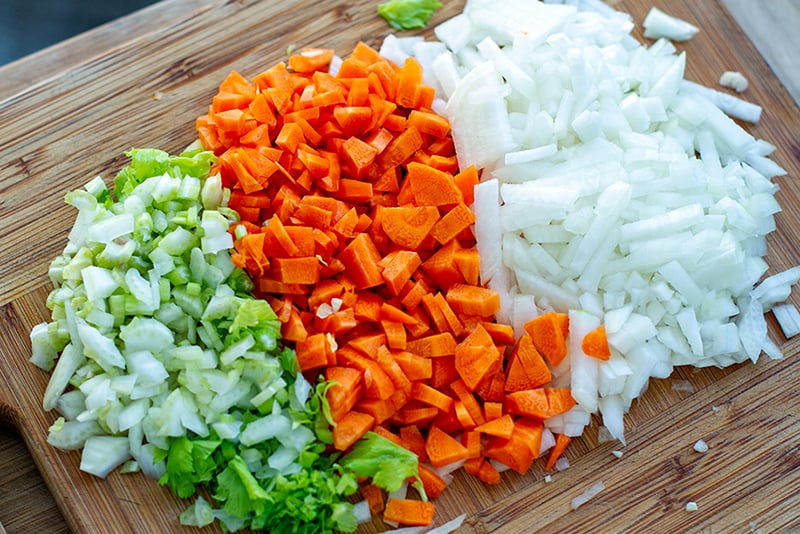Onions, celery and carrots for Bolognese