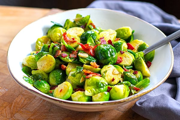 Instant Pot Brussels Sprouts With Crispy Bacon & Garlic