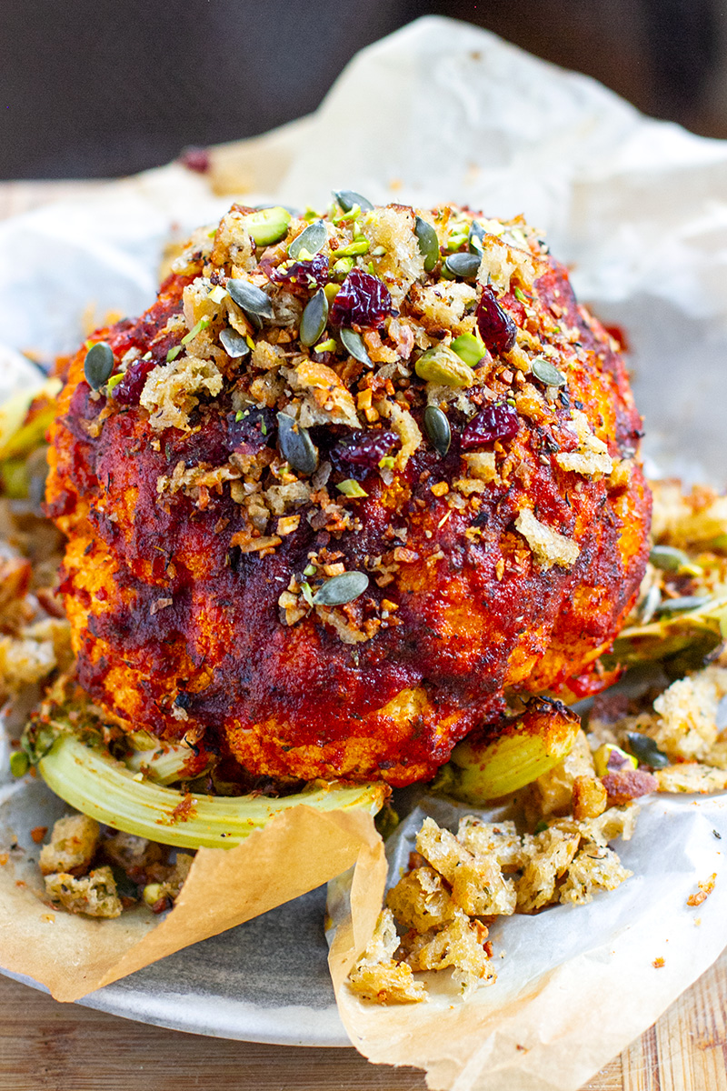 Instant Pot Cauliflower Whole With Spice Rub & Garlic Crumbs