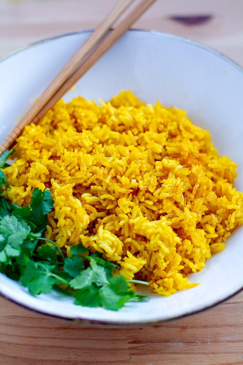 Instant Pot Turmeric Jasmine Rice (Vegan, Gluten-Free)