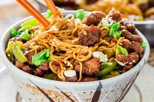 Instant Pot Mongolian Beef Ramen Noodles