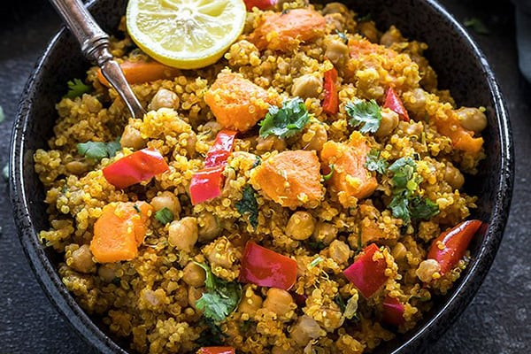 SWEET POTATO QUINOA WITH CHICKPEAS