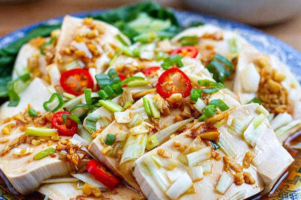STEAMED TOFU & BOK CHOY WITH GINGER GARLIC SAUCE