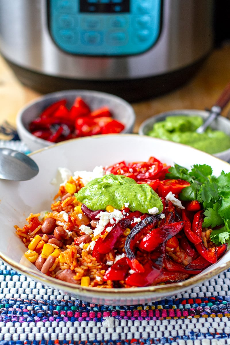 Vegetarian Burrito Bowl With Avocado Cream & Grilled Peppers