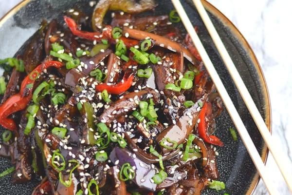 Instant Pot Sweet & Spicy Eggplant Stir Fry