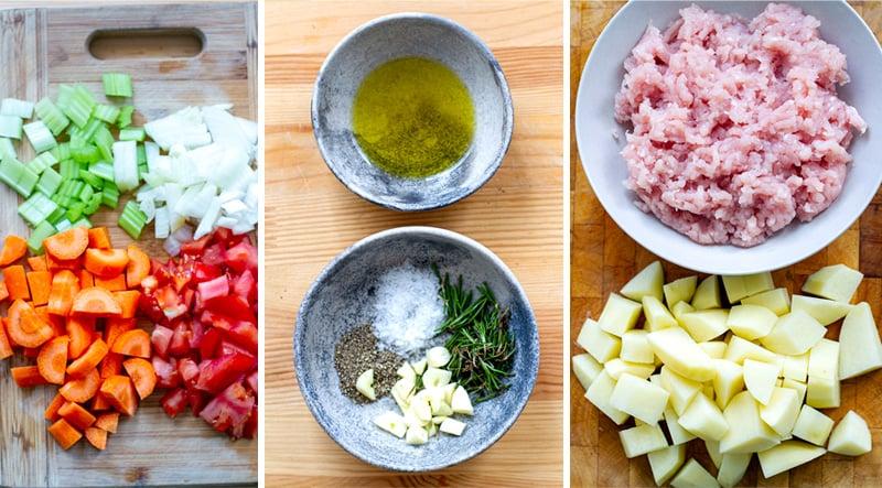 Ground turkey stew ingredients