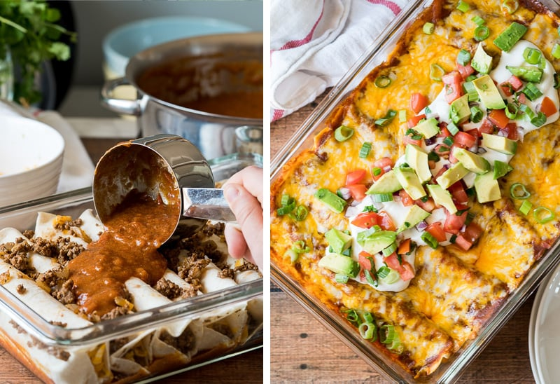 Taco enchiladas with ground beef