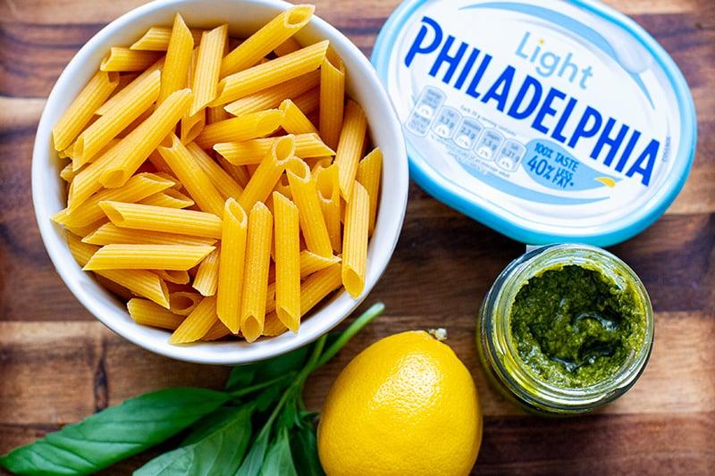 Pesto pasta with Philadelphia cheese cream sauce