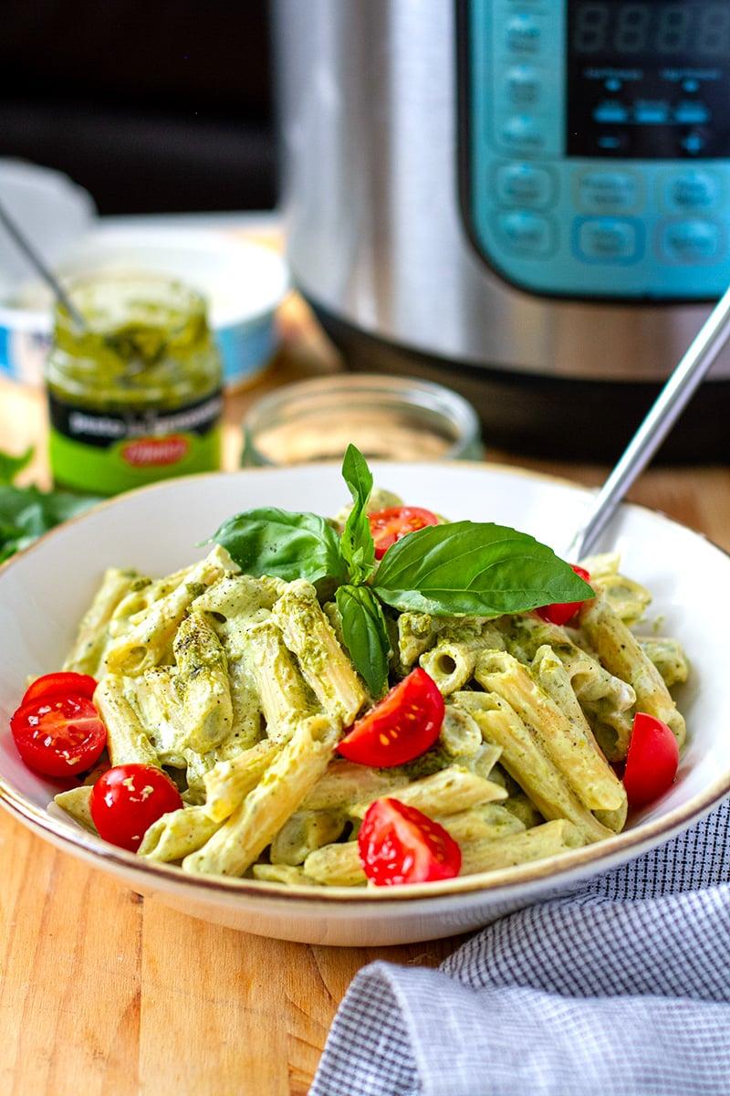 Creamy Pesto Pasta (Instant Pot & Stovetop methods)