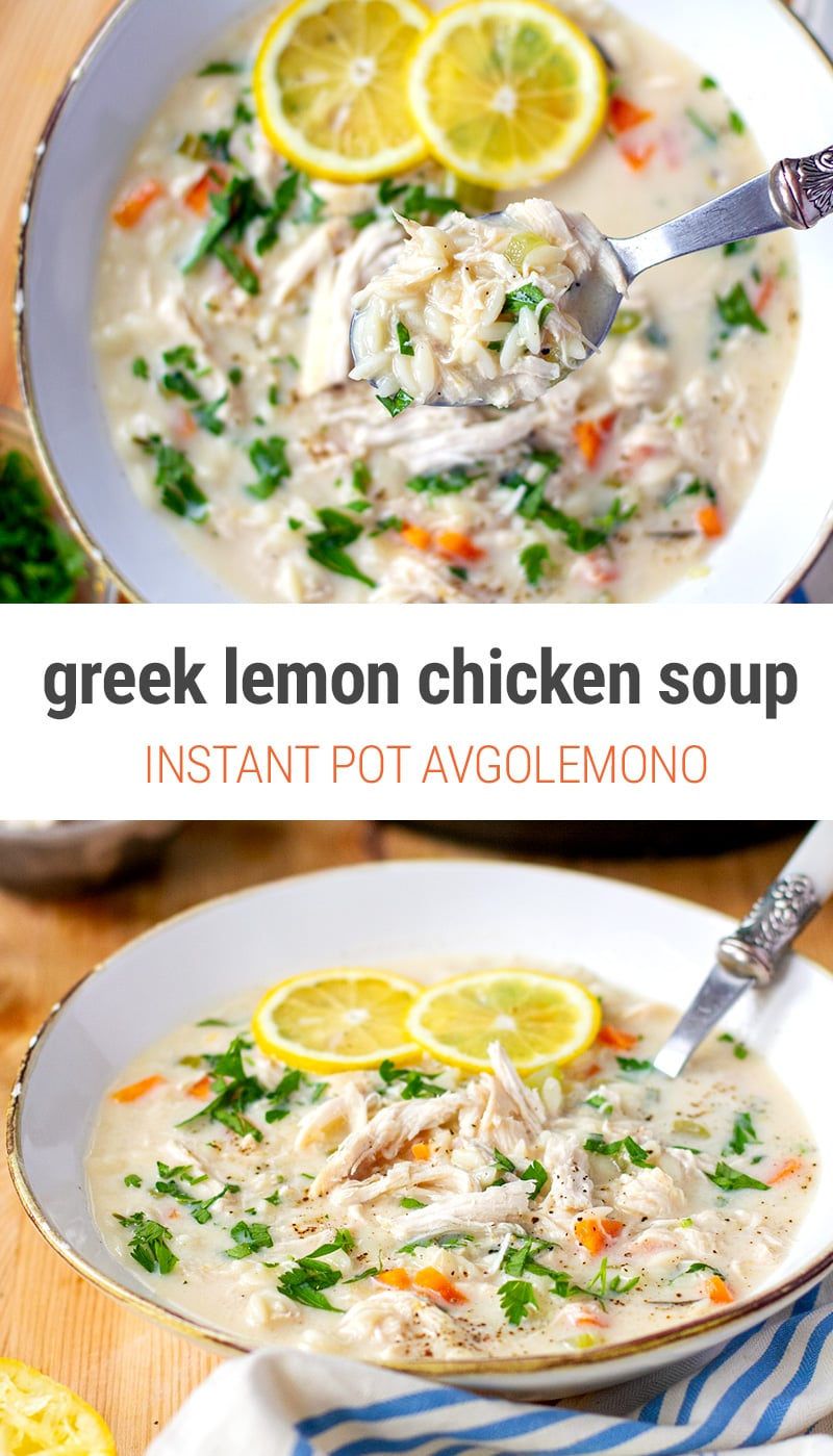 Instant Pot Chicken Lemon Soup (Greek Agolemono)