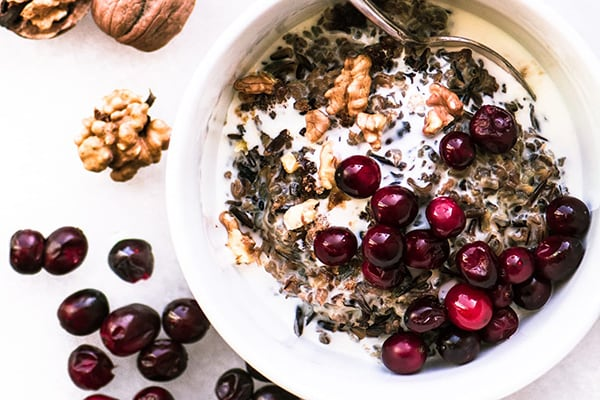 Instant Pot Cranberry Walnut Wild Rice Porridge