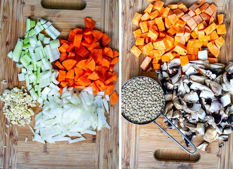 Lentil stew ingredients
