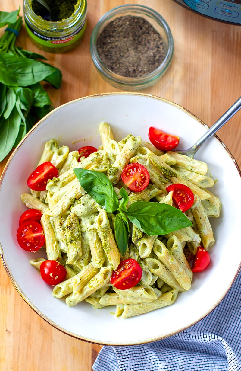 Creamy pesto pasta Instant Pot recipe