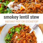 Smokey Instant Pot Lentil Stew (Vegan, Gluten-Free)