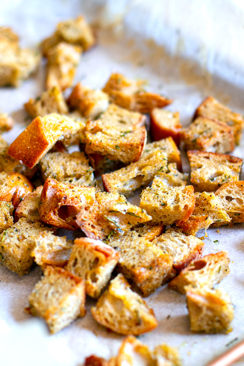 Sourdough Croutons With Herbs & Garlic
