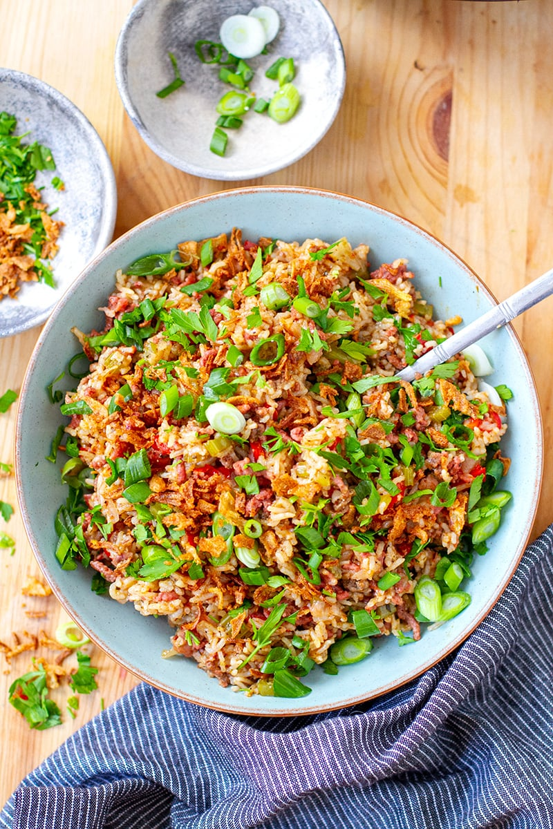 Instant Pot Dirty Rice With Ground Beef & Bacon