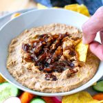 Creamy pinto bean dip with caramelised onions