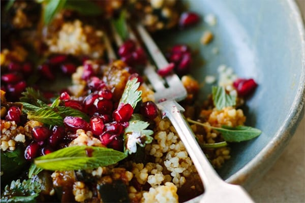 Eggplant with Pomegranate, Millet, and Mint