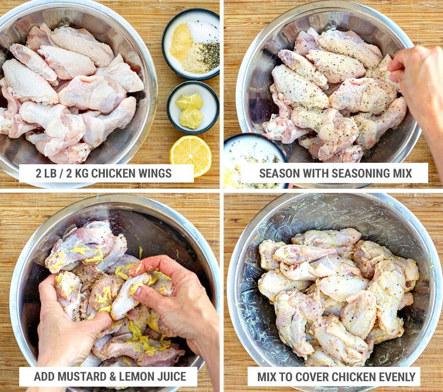 How to season and marinate mustard lemon chicken wings