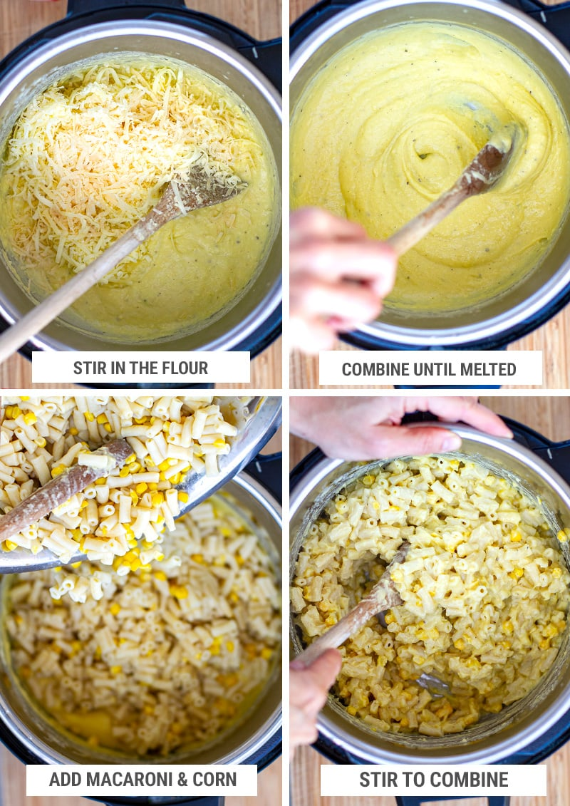 Making cheese sauce for macaroni dish