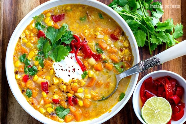 SWEET POTATO & CORN SOUP WITH CHIPOTLE