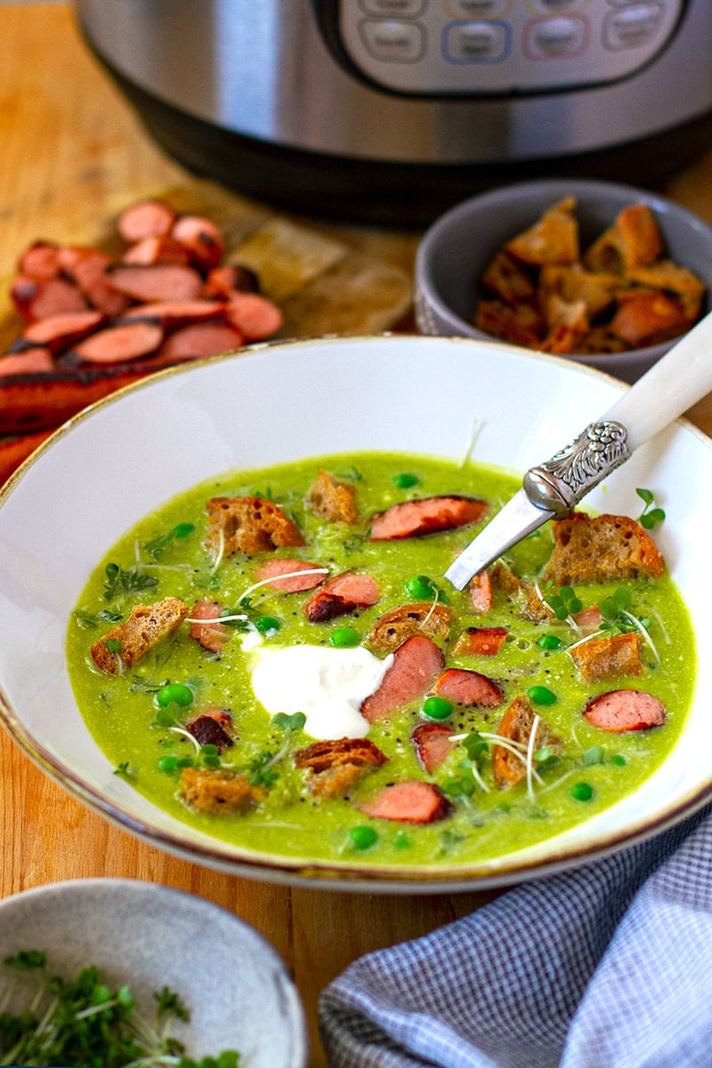 Instant Pot Pea Soup With Fried Hot Dogs