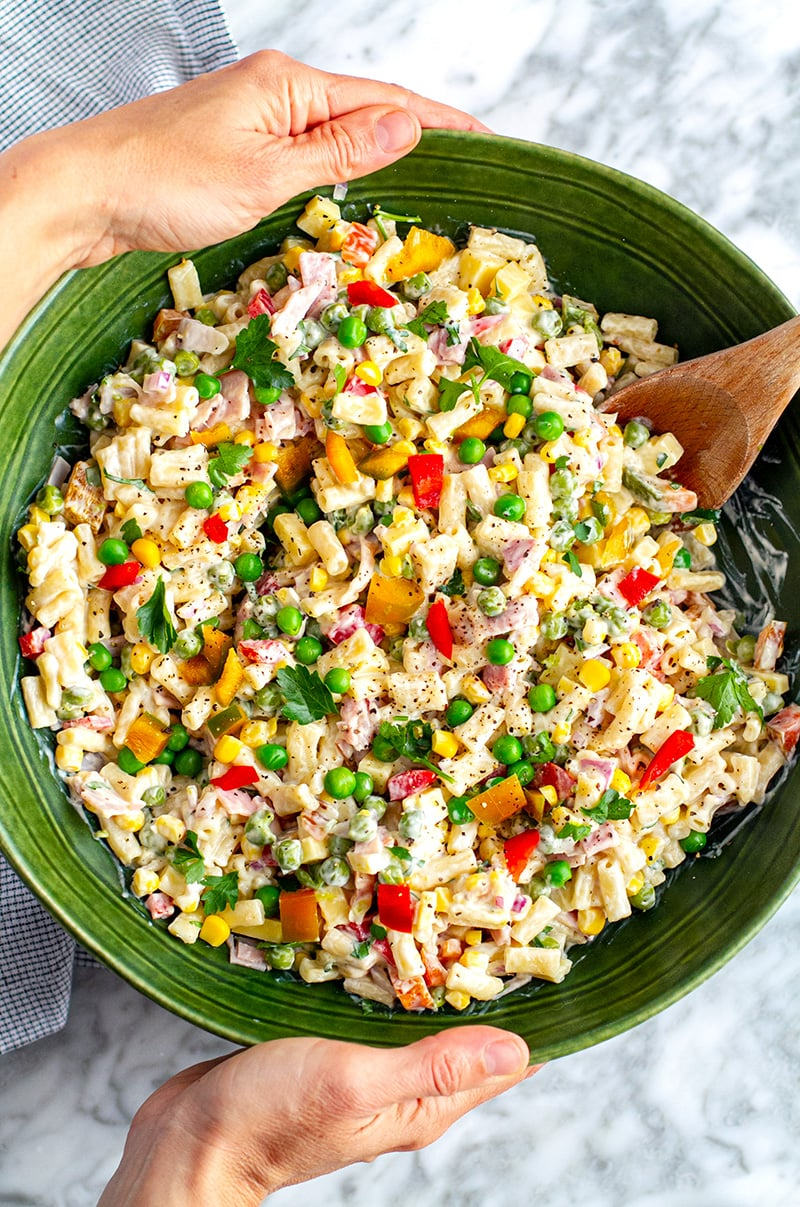 Creamy Macaroni Salad With Peas, Ham & Corn