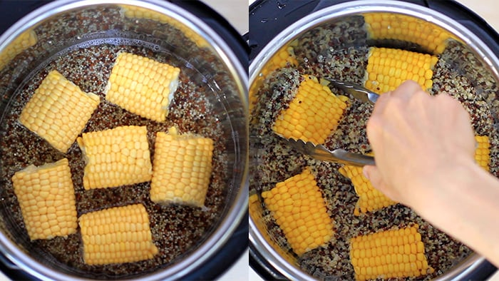 Step 1 - Cooking quinoa and corn in Instant Pot