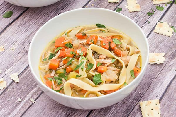instant pot jackfruit chicken noodle soup