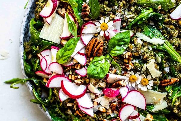 Pecan Pesto Farro Salad