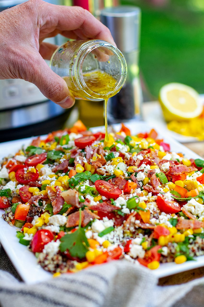 Corn Bacon & Quinoa Salad (Instant Pot or Stovetop)