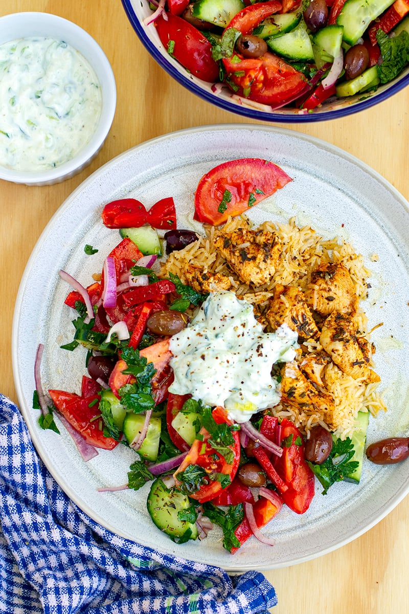 Chicken Souvlaki Rice (Instant Pot Recipe)