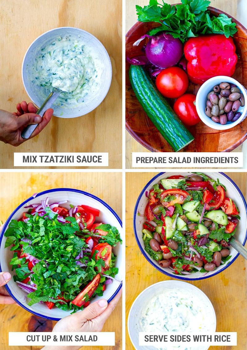 Make Greek salad and tzatziki sauce