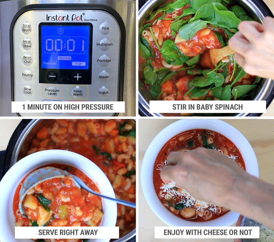 How to make Instant Pot minestrone steps 5-8