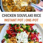 Instant Pot Chicken Souvlaki Rice With Greek Salad & Tzatziki