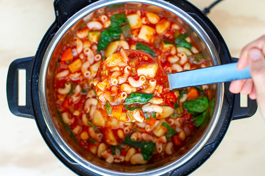 One-pot minestrone in the Instant Pot - ladle shot