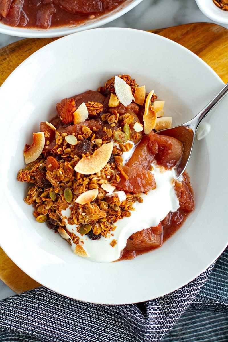 Stewed Apples With Granola & Yoghurt