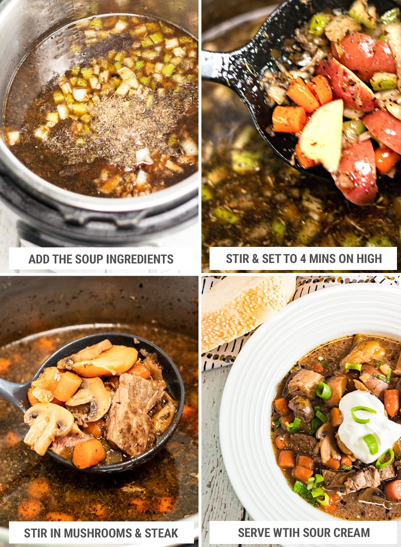 How to make steak and potato soup in Instant Pot step 2
