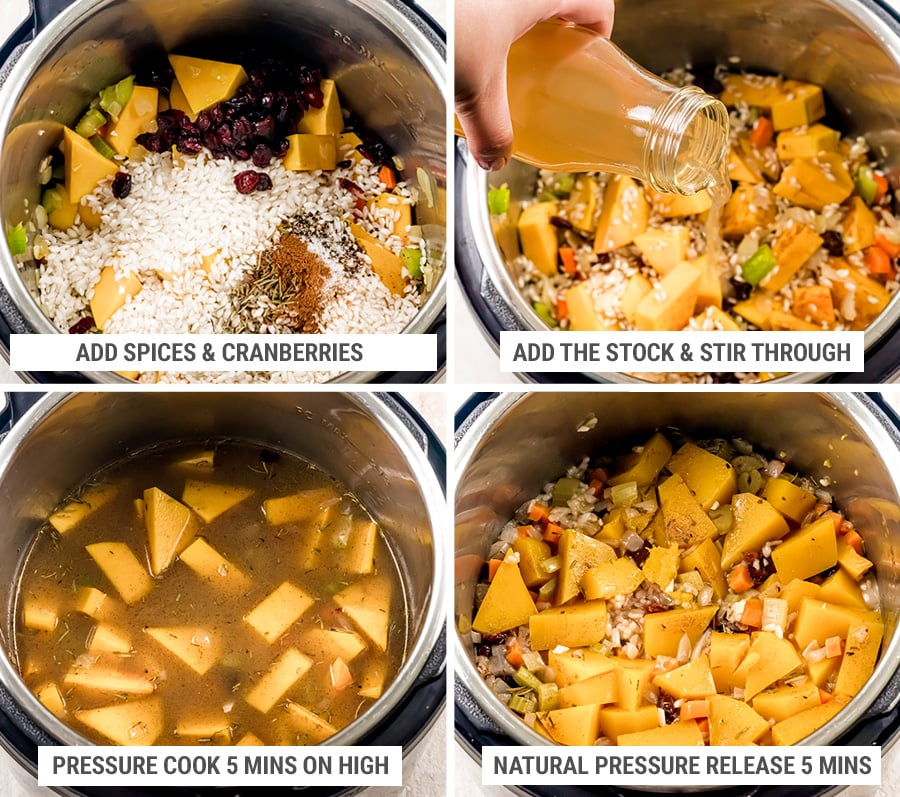 How to cook Instant Pot butternut squash risotto steps 5-8