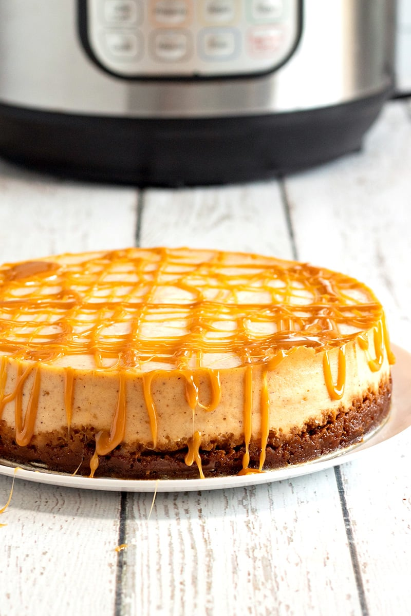 Instant Pot Eggnog & Caramel Cheesecake With Gingersnap Crust