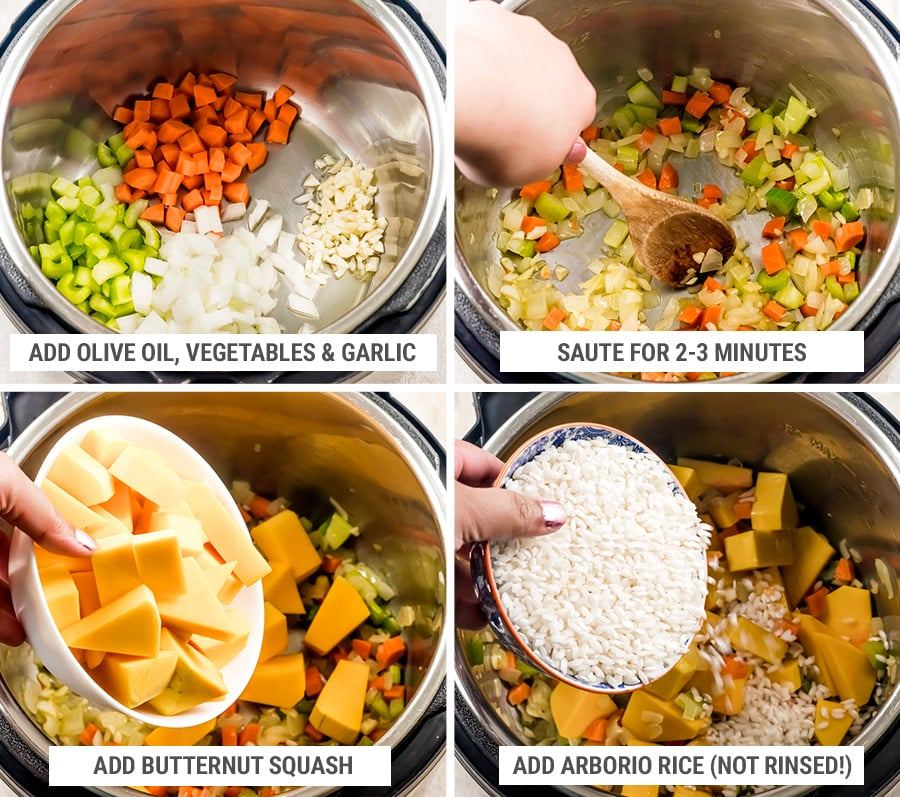 How to make butternut squash risotto in Instant Pot steps 1-4