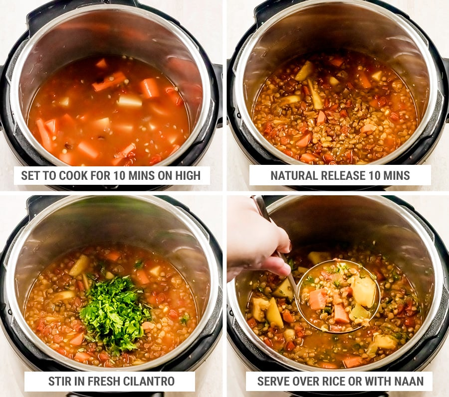 How to cook Instant Pot lentil Madras curry - final steps