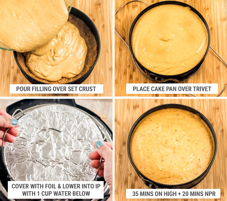 Steps for making and cooking Instant Pot cheesecake with trivet and foil
