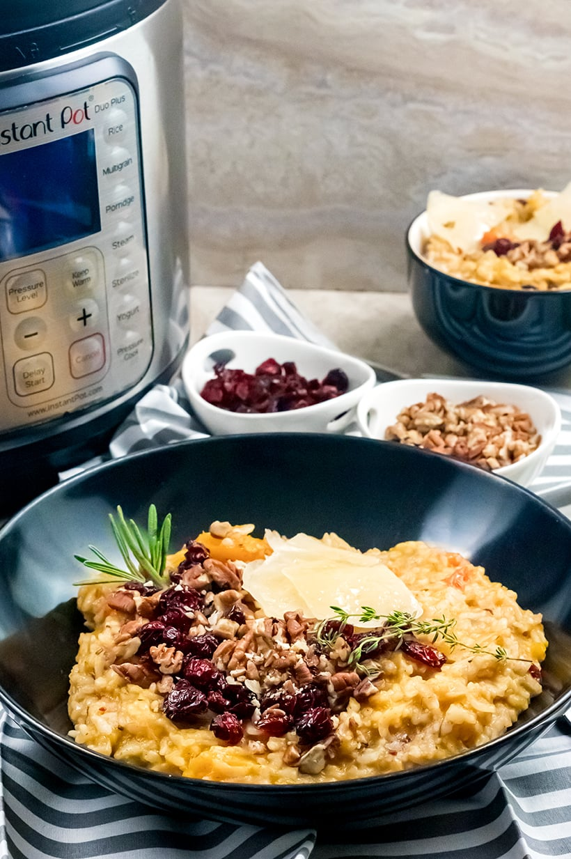 Thanksgiving risotto with butternut squash, cranberries and pecans (Instant Pot Recipe)