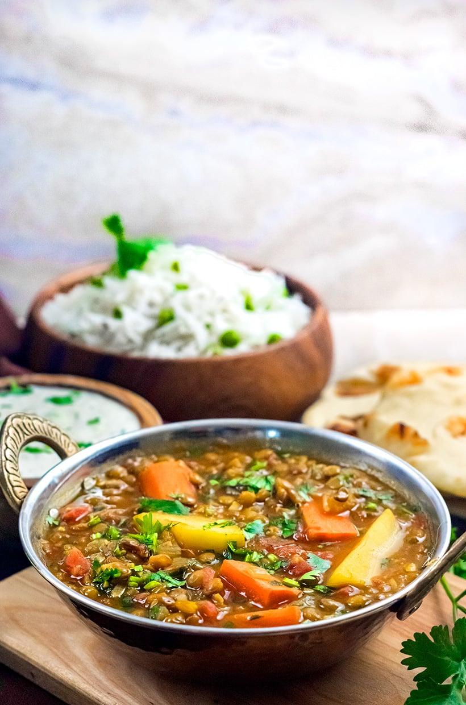 Instant Pot Madras Lentils With Raita