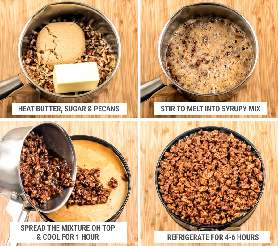 How to make pecan topping with butter and sugar for a cheesecake steps