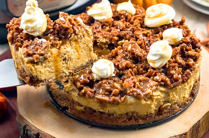 Instant Pot Pumpkin Cheesecake With Pecan Crust & Topping