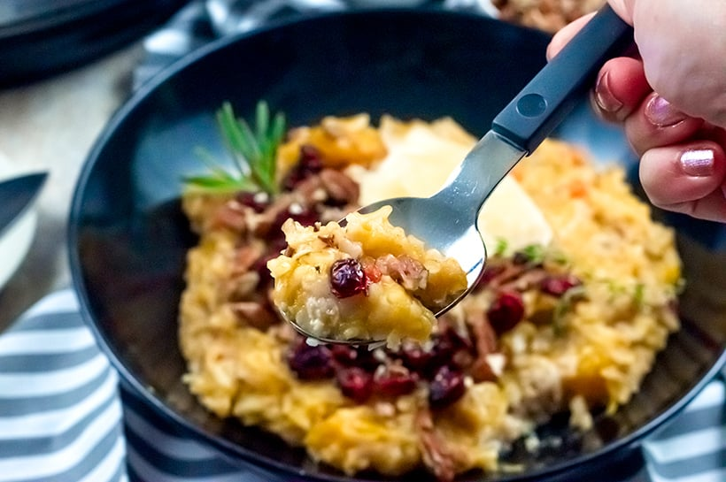 Thanksgiving risotto with butternut squash, cranberries and pecans
